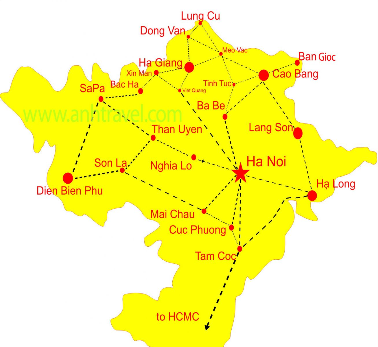 Northern Vietnam Map.Northern Map For Easy Riders